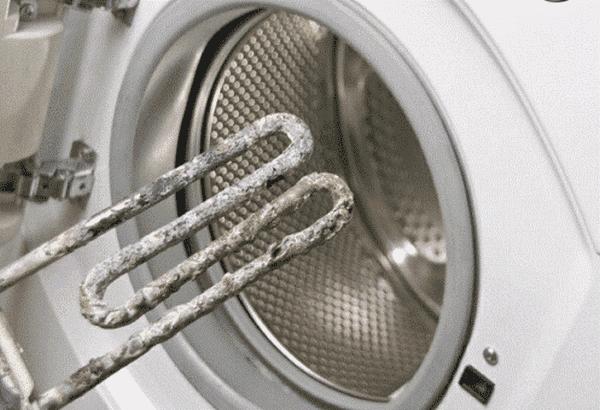 ТЭН стиральной машины, покрытый накипью