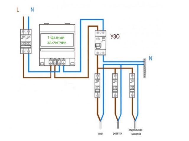 Схема подключения УЗО к водонагревателю