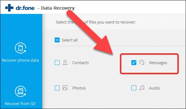 Использование программы Dr. Fone Android Data Recovery