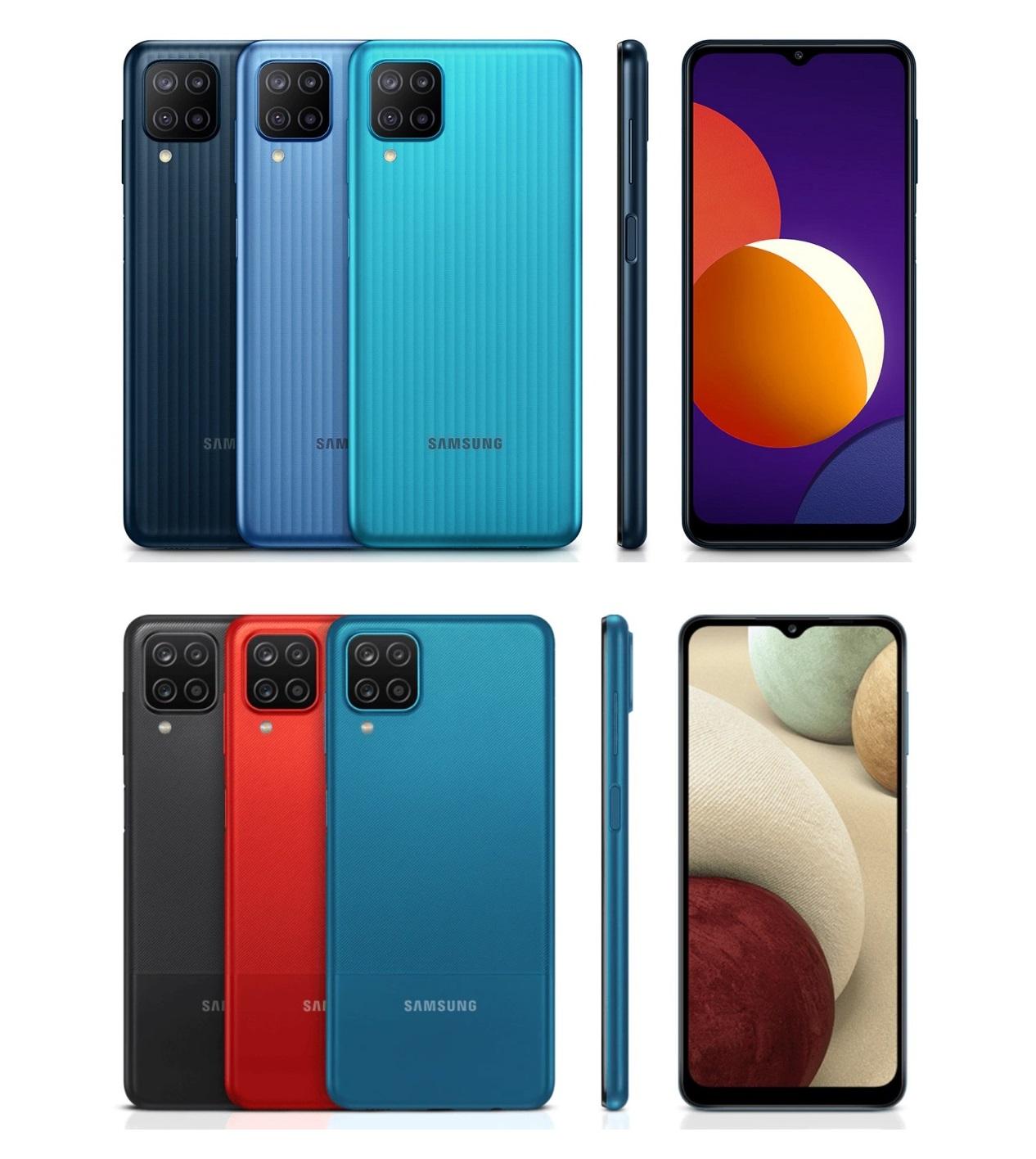 Сверху Samsung Galaxy M12, снизу Samsung Galaxy А12